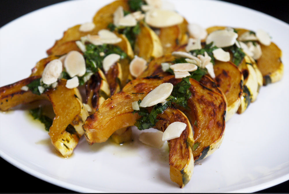 Roasted Delicata Squash with Gremolata & Almonds