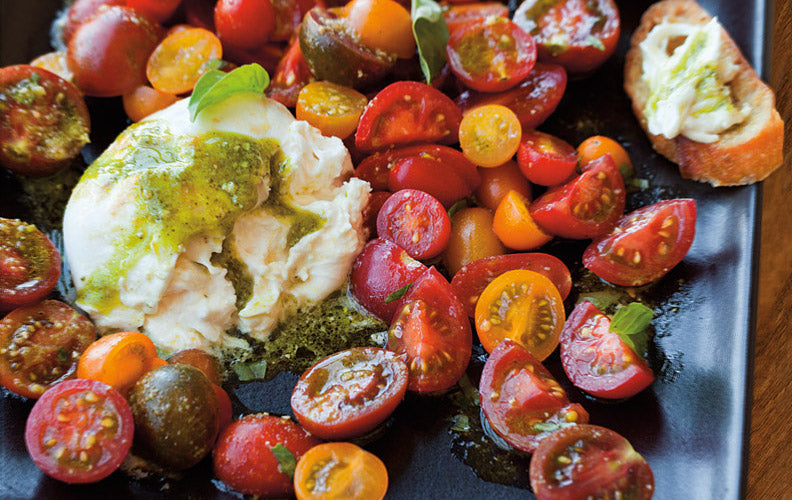 Cherry Tomato Salad With Burrata & Pesto