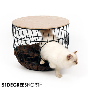 Wire Cat Table Julia Black incl Cushion