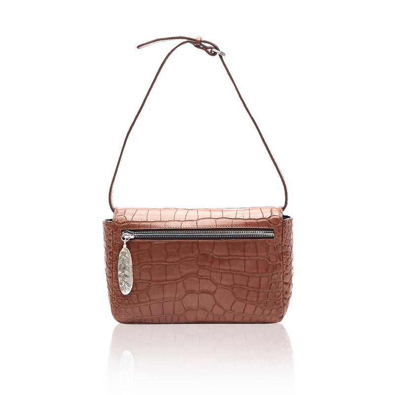 Queen Caroline Brown Alligator Clutch with Natural Agate