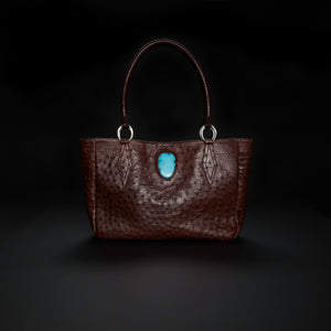 Queen Camille Brown Ostrich Tote - Mexican Turquoise