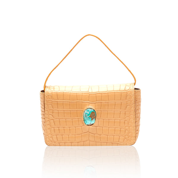Queen Caroline Tan Alligator Clutch with Gem Silica