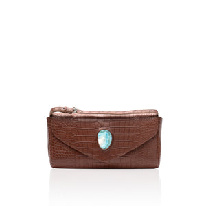 Queen Matilda Brown Alligator Clutch with Larimar