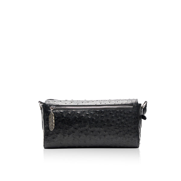 Queen Matilda Brown Ostrich Clutch with Cobalt Druzy