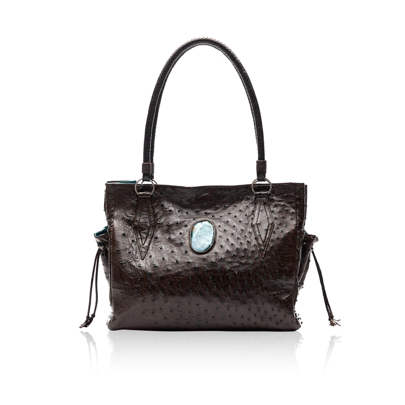 Queen Catherine Brown Ostrich Tote with Gem Silica Druzy