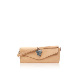 Queen Isabella Tan Bison Clutch with Pietersite