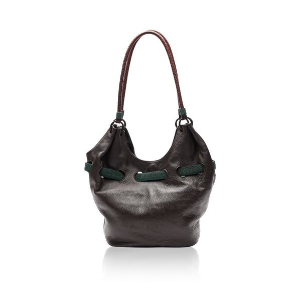 Queen Elizabeth Brown Bison Tote with Green Stingray Belt