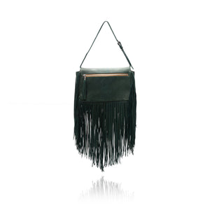 Queen Victoria Green Deer Fringe Crossbody with Acamite on Druzy