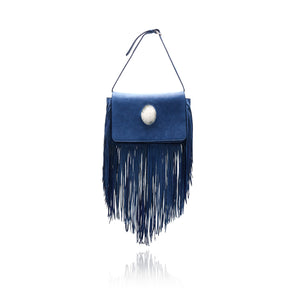 Queen Victoria Blue Deer Fringe Crossbody with Quartz Druzy