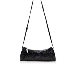 Queen Anne Black Ostrich Clutch with Lapis Lazuli