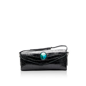 Queen Isabella Black Alligator with Chrysocolla Stone
