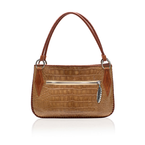 Queen Camille Tan Alligator Tote with Turquoise
