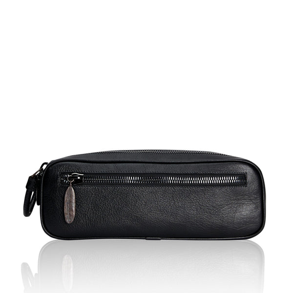 Double Zippered Black Calfskin Dopp Kit