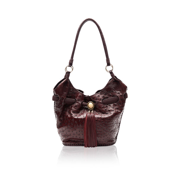 Queen Elizabeth Burgundy Ostrich Tote with 14K Gold Hardware and African Opal