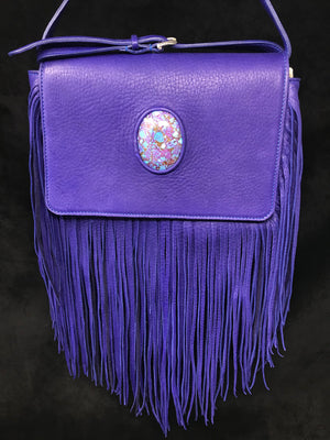 Queen Victoria Purple Deer Fringe Crossbody with Mojave Turquoise (at M.L. Leddy's)