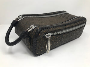 Double Zippered Top Ostrich Leather Dopp Kit