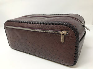 Single Zippered Top Burgundy Ostrich Leather Dopp Kit