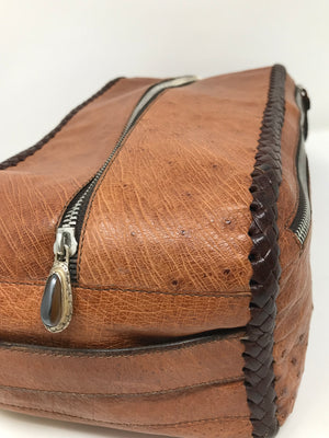 Single Zippered Top Tan Ostrich Leather Dopp Kit