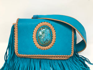 Queen Victoria Turquoise Deer Fringe Clutch with Chrysocolla Druzy