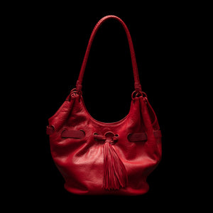 Queen Elizabeth Red Bison Tote with stingray belt (at M.L.Leddy's)