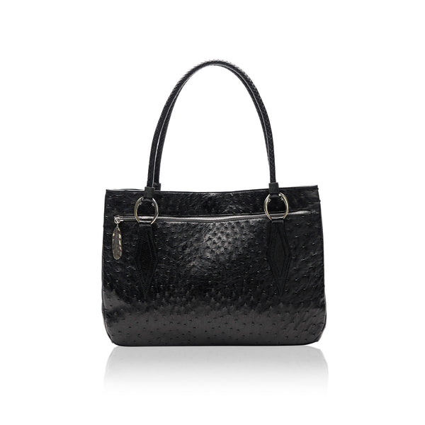Queen Camille Black Ostrich Tote with Emerald