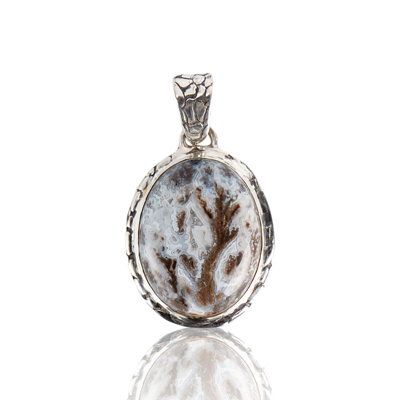 Sterling Silver Dendritic Agate Ostrich Pendant