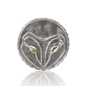 Owl Face Sterling Silver Belt Buckle with Gemstone Eyes