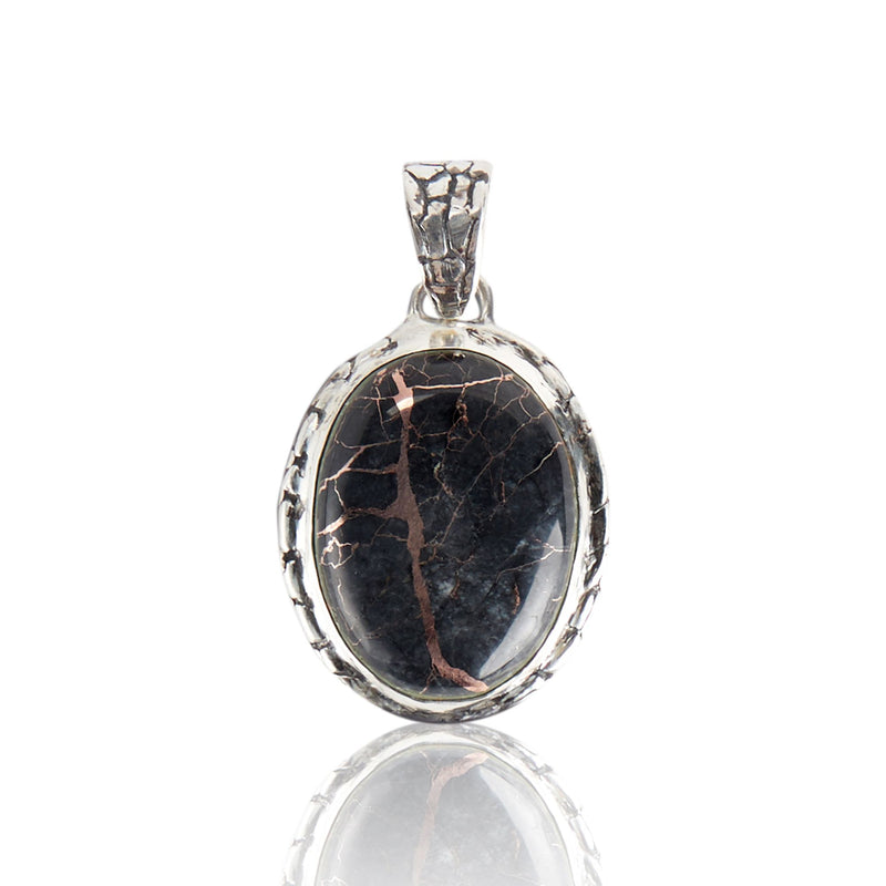 Sterling Silver Quartz with Copper Ostrich Pendant