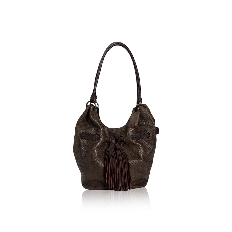 Queen Elizabeth Brown Python Tote with Stingray Belt
