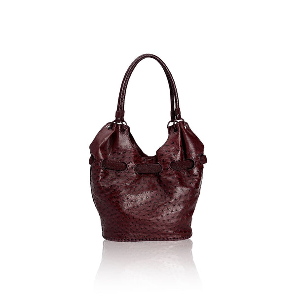 Queen Elizabeth Burgundy Ostrich Tote with Stingray Belt