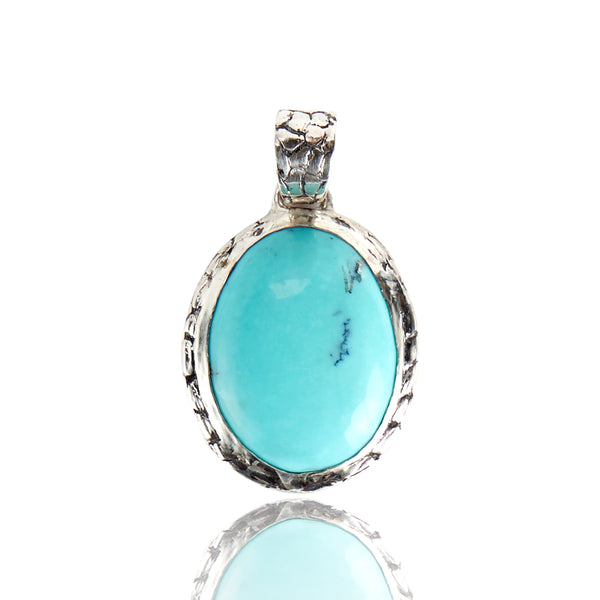 Sterling Silver Ostrich Mexican Turquoise Pendant