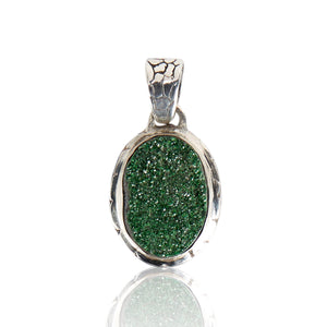 Ostrich Pendant - Medium size with Uvarovite Stone