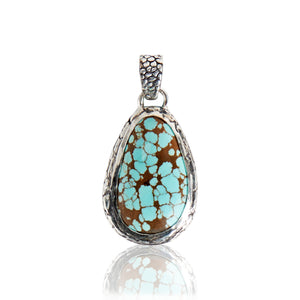 Sterling Silver Ostrich American Turquoise Pendant