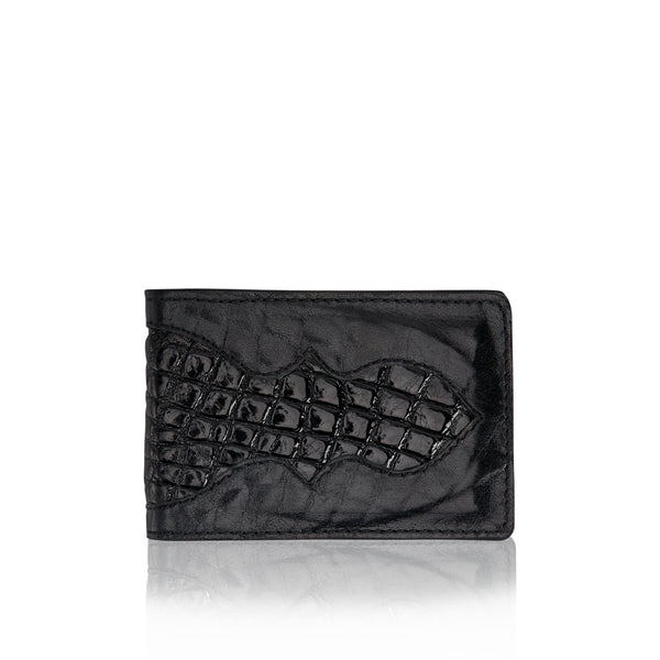 Money Clip Wallet- Black Bison and Ostrich Leg