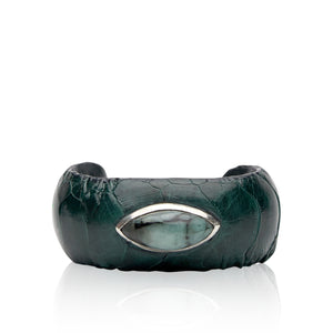 Exotic Leather Cuff with Stone