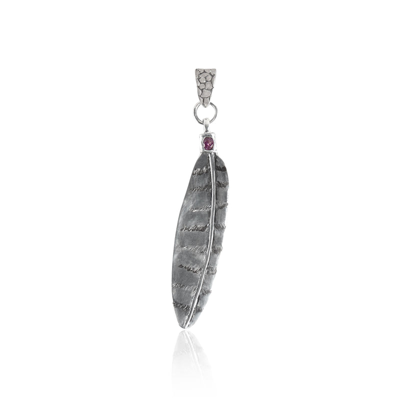 Owl Feather Pendant with .5 carat round gemstone- Large Sterling Silver