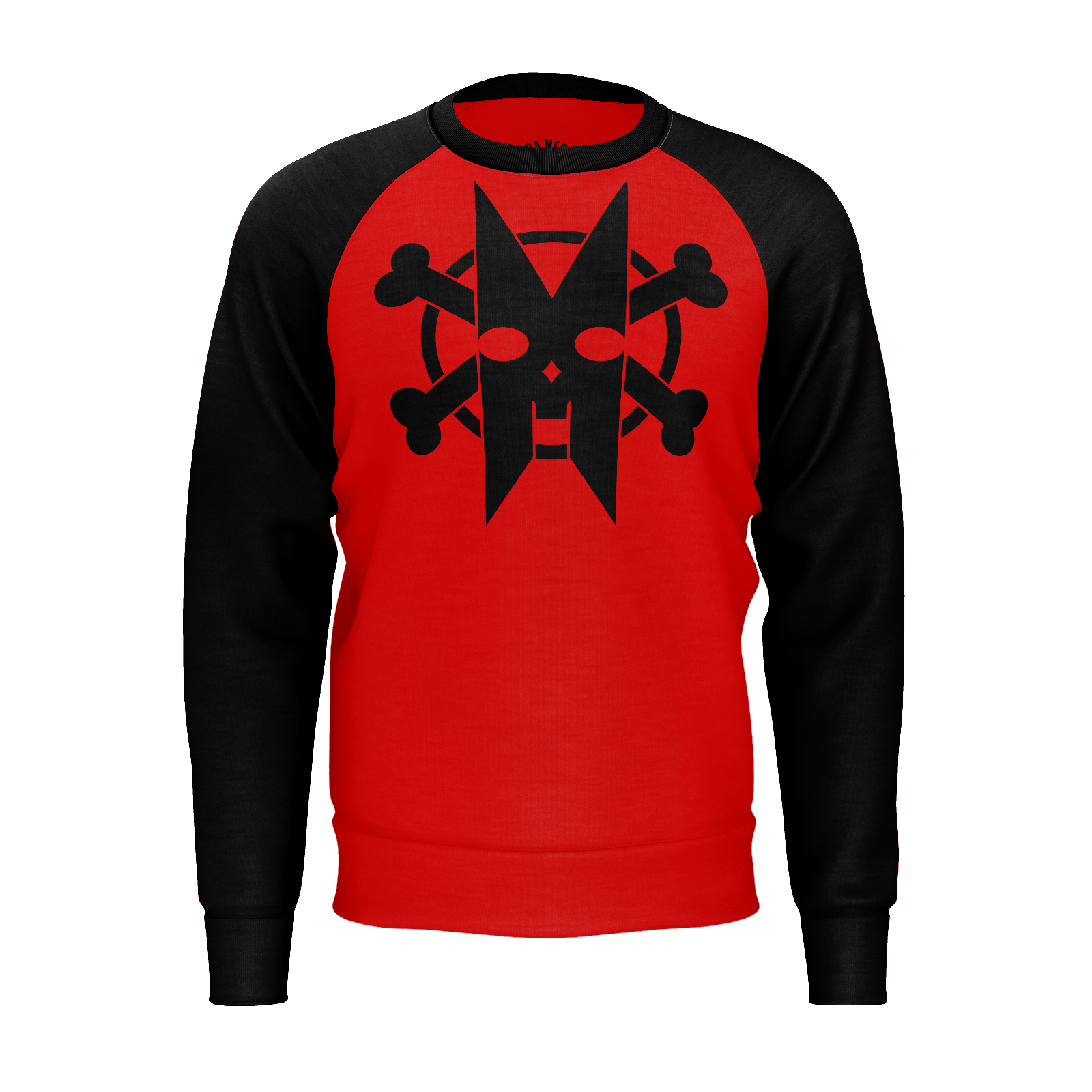 XM GYMWEAR RED AND BLACK RAGLAN SWEATSHIRT