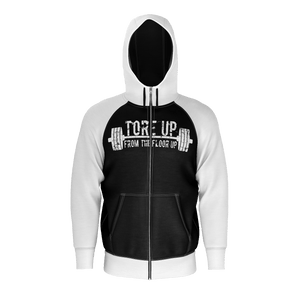 WHITE AND BLACK TORE UP RAGLAN HOODIE