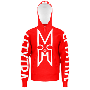 LFTXTRA LOGO RED AND WHITE NO ZIP HOODIE