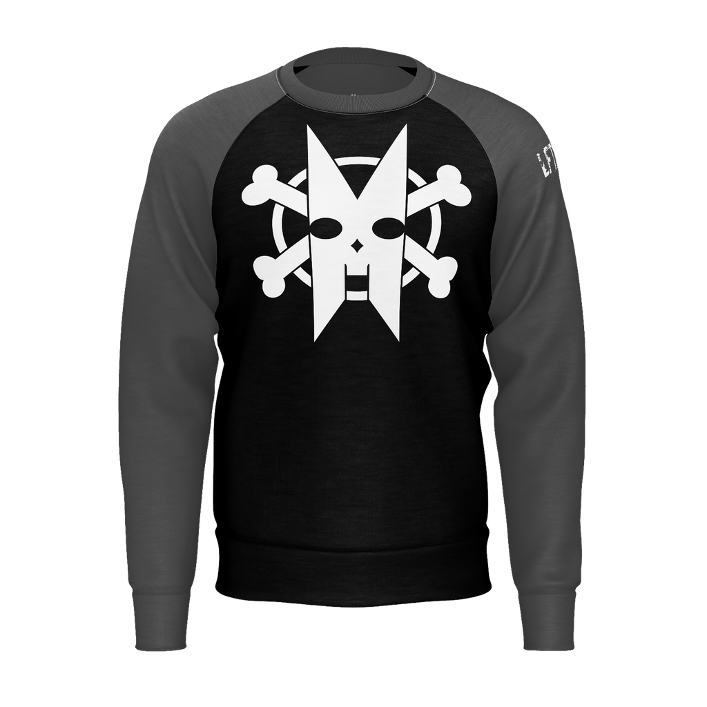 XM GYMWEAR BONES GRAY AND BLACK RAGLAN SWEATSHIRT