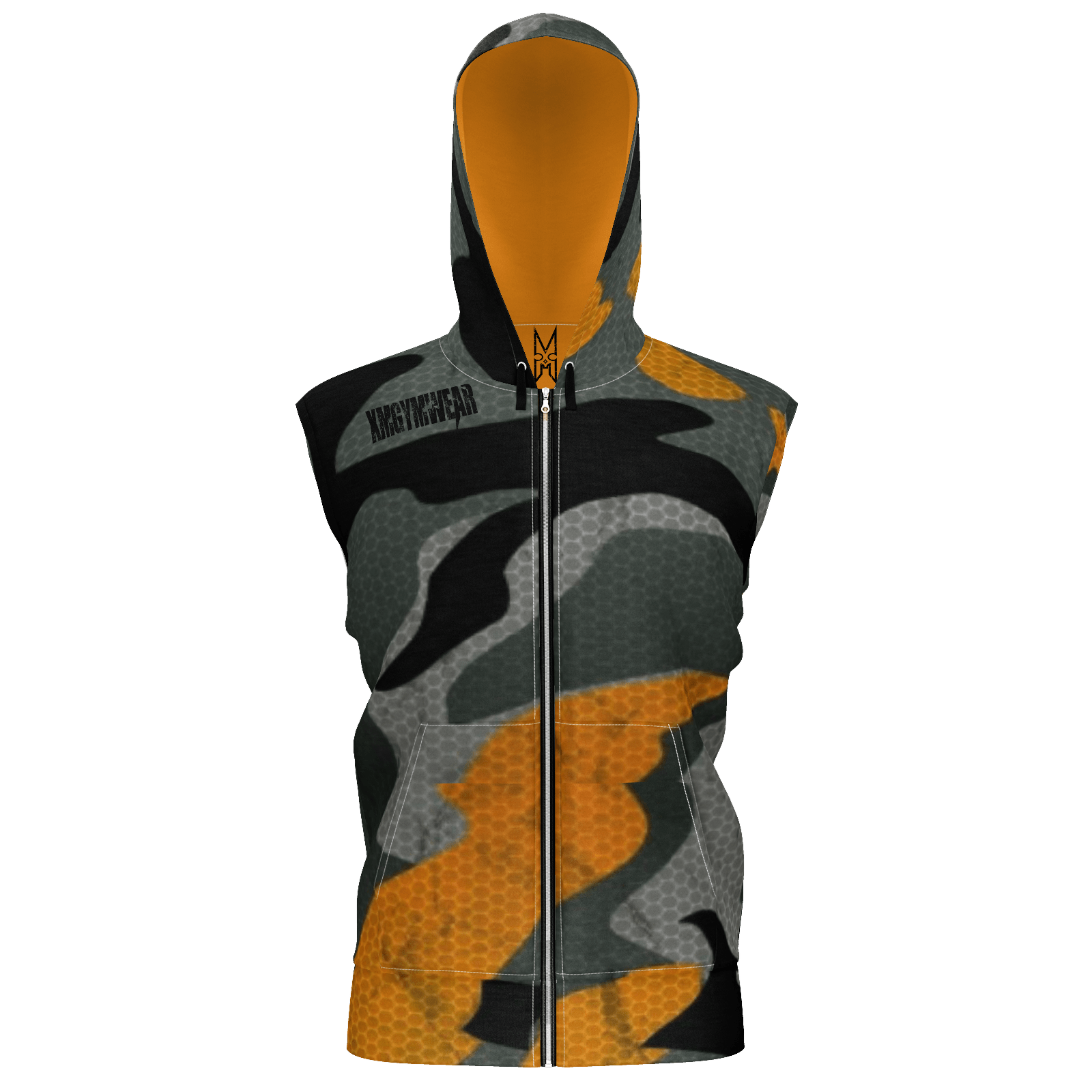 XMGYMWEAR AGENT ORANGE CAMO SLEEVELESS HOODIE