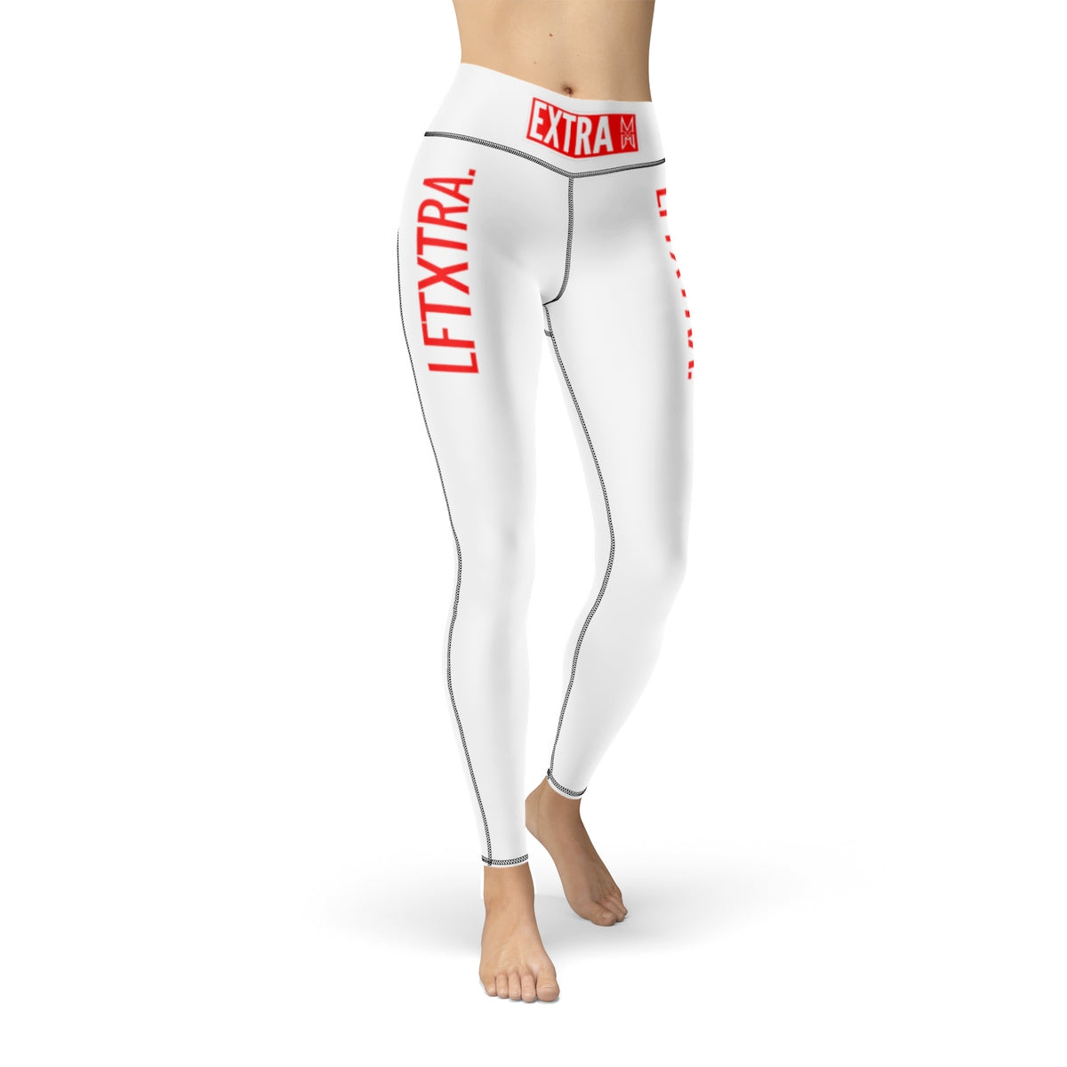 XM Gymwear Extra Red and White Women's Cut & Sew Sport Leggings