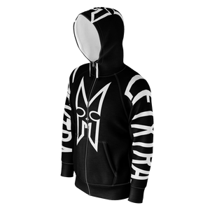 LFTXTRA BLACK AND WHITE ZIP UP HOODIE