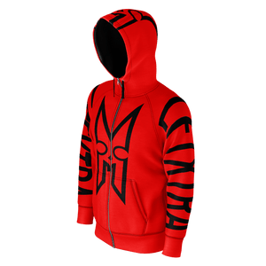 LFTXTRA RED AND BLACK LOGO ZIP HOODIE