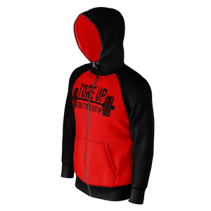 BLACK AND RED TORE UP RAGLAN ZIP HOODIE
