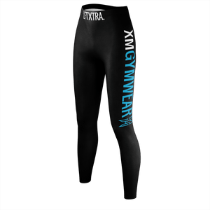 XMGYMWEAR BLUE AND WHITE LOGO LEGGINGS