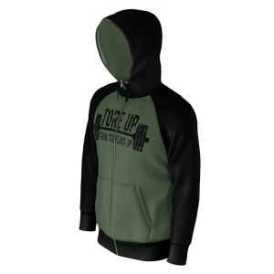 BLACK AND CAMO GREEN TORE UP RAGLAN ZIP HOODIE