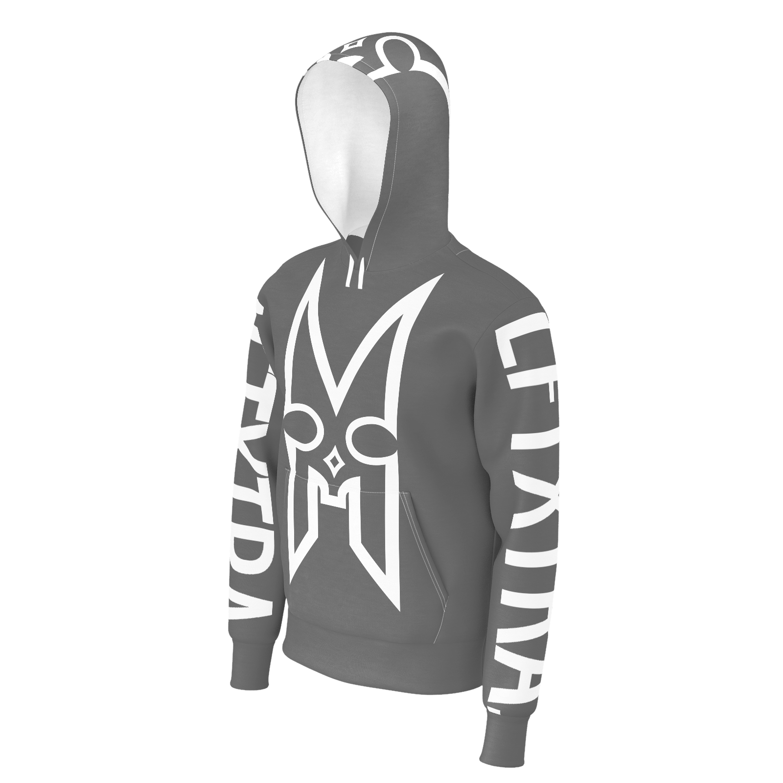 LFTXTRA LOGO GREY AND WHITE NO ZIP HOODIE