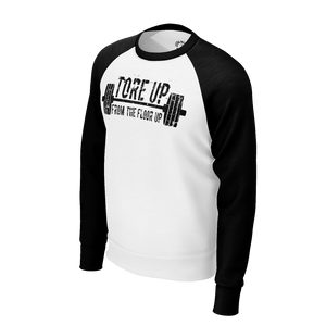 WHITE TORE UP RAGLAN SWEATSHIRT