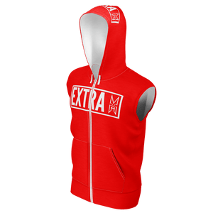 EXTRA RED SLEEVELESS HOODIE